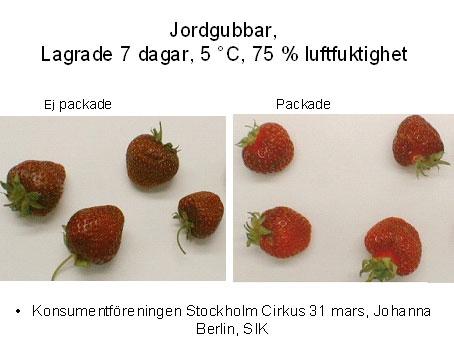 Jordgubbar förvarade med och utan plastpåse
