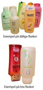 Exempel på dåliga och bra flaskor