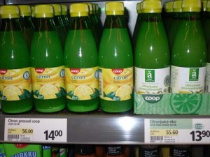 Citronjuice, ekologisk och icke ekologisk