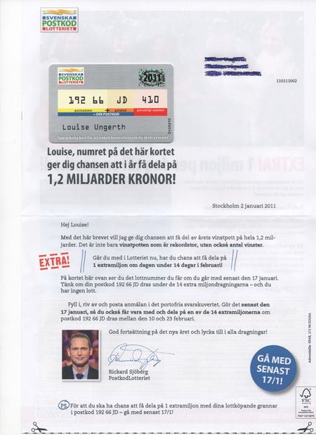 Postkodslotteriet stoppa reklam