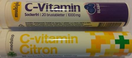 C-vitaminbrus 20 st kostar 20 - 25 kr i butik och apotek