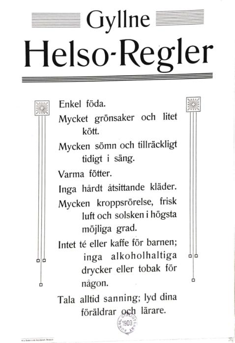 Hälsoregler Anno 1909